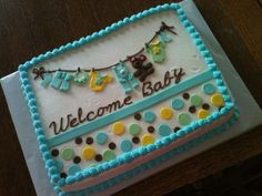 Baby Clothes Line sheet cake. Can be made with any color dots/clothes!
