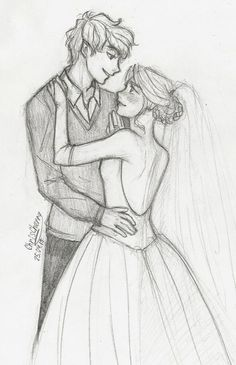 Puck and Sabrina wedding day Easy Love Drawings, Bff Drawings, Art Drawings Sketches Simple, Pencil Art Drawings, Hipster Drawings, Cute Couple Sketches, Relationship Drawings, Desenhos Harry Potter, Cute Art