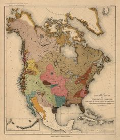 """1890 MAP, Native American Indian land, Color, United States, Canada, 24""""x20"""""""