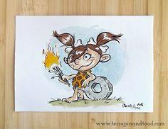 Terrapin and Toad: Sketchbook doodles - Cave Girl watercolour#terrapinandtoad