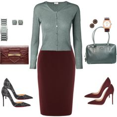 Silver sage cardigan and pencil skirt by tgtatiana on Polyvore featuring polyvore, fashion, style, ESCADA, Linea, Christian Louboutin, Gianvito Rossi, Prada, Alexander McQueen and Rado
