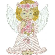 {Sweetness Rose Angel K. Free Machine Embroidery Designs, Embroidery Patterns, Free Angel, Wonderful Machine, Breast Cancer Survivor, Cancer Support, Awareness Ribbons, Christmas Angels, Cute Designs