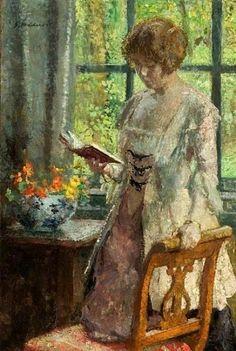 Melchers, Julius Garibaldi Gari (b,1860)- Woman Reading Book, at Table