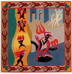 """Little Black and White Devils, Dance of Devils """"Diavoletti neri e bianchi, Danza di diavoli""""(1922–23) Fortunato Depero - Pieced wool on cotton backing - Museo di arte moderna e contemporanea di Trento e Rovereto, Italy - Part of exhibit: Italian Futurism at the Guggenheim Museum, NYC"""