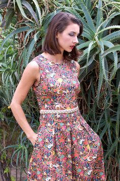 Liberty Print Dress with Pleats, Beaded Waist & Pockets, Liberty London Print Dress, Party Dress. Made To Order.