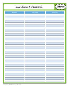 31 Days of Home Management Binder Printables: Day #17 Website User Names and Passwords.. Lots of great printable charts for a variety of things