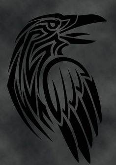 Celtic Raven Meaning and Tattoo Ideas on Whats-Your-Sign Norse Tattoo, Viking Tattoos, Celtic Raven Tattoo, Warrior Tattoos, Arte Tribal, Tribal Art, Tribal Wolf, Native Art, Native American Art
