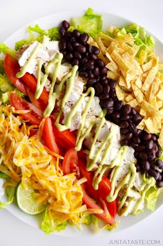 Fish Taco Salad with Avocado Dressing justataste.com