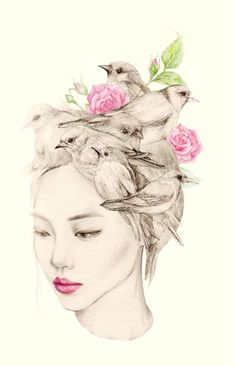 Okart artist - The Girl and The Birds Drawings-1