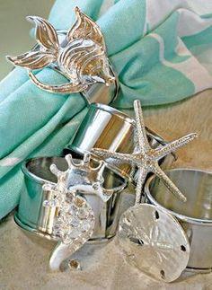 Silver beach inspired napkin rings Add some silver to aqua display Beach Cottage Style, Beach Cottage Decor, Coastal Cottage, Coastal Style, Coastal Living, Modern Coastal, Coastal Farmhouse, Seaside Decor, Coastal Decor