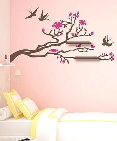 Take a look at this Pink & Walnut Eastern Branch Shelf & Wall Decal Set by Sissy Little on #zulily today!