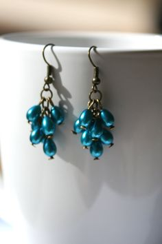 Cluster Dangle Earrings with Teal Blue Glass by creationsbycandice