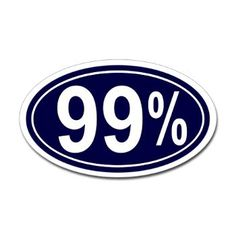 99% Oval Bumper Sticker from Occupy Wall Street Shop