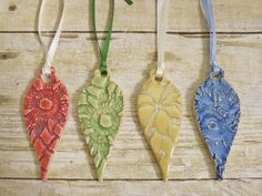 Ceramic Lace Teardrop Ornament Set of Four by MyMothersGarden, $16.00