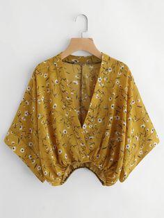 Calico Print Kimono Sleeve Surplice Blouse