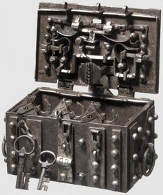 Strongbox, Nuremberg, ca 1540 -- made of sheets of forged iron riveted together… Antique Safe, Antique Keys, Vintage Keys, Antique Chest, Under Lock And Key, Key Lock, Safe Vault, Vault Doors, Safe Lock