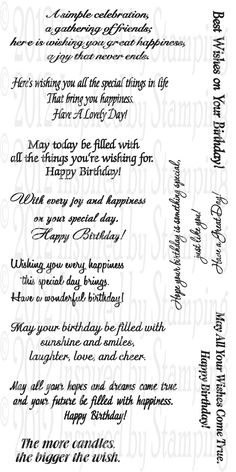Birthday Sentiments (Inspired by Stamping) - Paper Punch Addiction by lorraine Birthday Card Sayings, Birthday Sentiments, Birthday Messages, Happy Birthday Cards, Birthday Quotes, Birthday Greetings, Birthday Wishes, Birthday Greeting Card, Birthday Verses For Cards