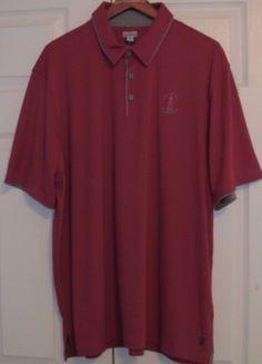 Ashworth Men's Golf Shirt, XL, Maroon, Grey Trim, Moisture Wicking, NWT #Ashworth