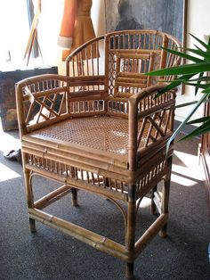 215 best Vintage Rattan Chairs images on Pinterest   Cane chairs     Items similar to Mid Century Vintage Hollywood Glam Bamboo Armchair For  Your Sun Room on Etsy