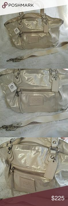 Coach purse 🎀 NEW🎀 Light creme coach purse medium bag brand new with extra strap shiny bag looks really pretty for casual days. Coach Bags