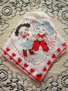 Vintage Valentine's Day Hankie with Cowboy by SongbirdSalvation