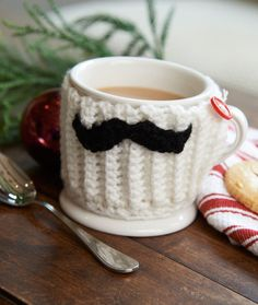 Mustache Mug Hug Crochet Pattern ~ thinking ahead already for valentines day or fathers day!
