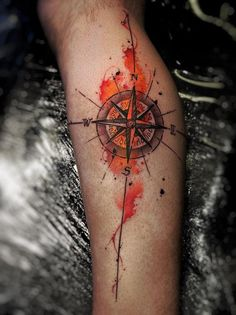 Compss calf tattoo for man - 100 Awesome Compass Tattoo Designs <3 <3