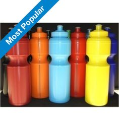 Our Premium Soft Squeeze Drink Bottles is the most popular promotional drink bottle we have.  Great value and colour range.  Mix and Match lids to suit your team or school colours.