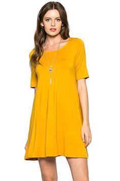 d70e3e21d3ed Residents On Women's Short Sleeve Pockets Casual T-Shirt Flowy Swing Dress  Dresses For Less