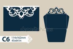 Descargar - Sobres felicitación plantilla calada tallada patrón — Ilustración de stock #118965734