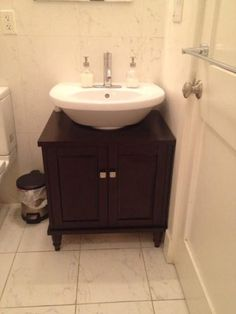 DIY pedestal sink to vanity OMG I so want to do this Bathrooms