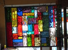 Already sold but I can make another Water Color stained glass window panel GORGEOUS Very Colorful