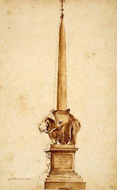 Gian Lorenzo Bernin, design for the obelisk in front of the Santa Maria Sopra Minerva in Rome, Biblioteca Apostolica Vaticana.
