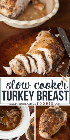 Slow Cooker Turkey Breast is perfect as Thanksgiving dinner for two or serves as an easy meal prep idea. Crock pot turkey breast is easy and delicious! If - thanksgiving quo - Slow Cooker Turkey Breast Recipe and VIDEO Thanksgiving Dinner For Two, Thanksgiving Recipes, Holiday Recipes, Thanksgiving Turkey, Christmas Desserts, Fall Recipes, Yummy Recipes, Soup Recipes, Turkey Crockpot Recipes