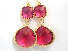 Gold Fuschia Earrings, Glass Earrings, Fuchsia, Hot Pink, Dark Pink, Wedding Jewelry, Bridesmaid Earrings, Bridal Jewelry, Bridesmaid Gifts