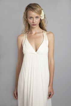 """HB6639 l Racer back chiffon dress with silk satin binded armhole and back neckline was designed with the modern bride mind. Its clean lines on front are matched by its equally interesting back detail. The plunging front neckline makes it ideal for a bride with a bust of c-cup or smaller. For any bride who wants to showcase her waistline, we recommend pairing this dress with our 3"""" cream sash to accent the waist. #sajawedding"""