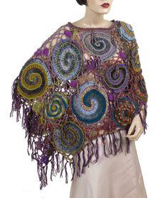 Wrap/Poncho, Wearable Art, OOAK Freeform Crochet - Spiral Web. $390.00, via Etsy.