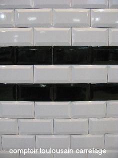 Faïence métro blanc biseauté pour application murale l. 7,5 L. 15 cm ...