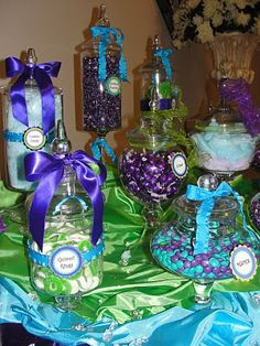 The Amazing Candy Buffets and Fun Food Designers of Sugar Bunch Creations: COLORFUL WEDDING CANDY BUFFETS WILL MAKE YOUR RECEPTION POP!! Turquoise ,Apple Green, & Purple Wedding Candy Buffet
