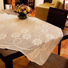 Toalha de mesa File floral Esterlina #crochê #receita #diagrama