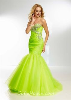 Fitted Mermaid Sweetheart Long Bright Green Tulle Beaded Prom Dress Corset  Back Blue Mermaid Prom Dress 295385a2bab6