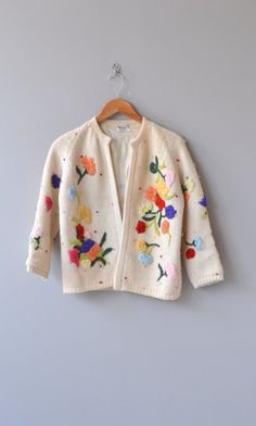 Crewel Bouquet cardigan vintage 1960s cardigan by DearGolden