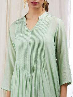 Green Modal Silk Sequins Embroidered Kurta with Cotton Lining and Pants - Set of 3 Neck Designs For Suits, Designs For Dresses, Dress Neck Designs, Blouse Designs, Kurta Neck Design, Kurti Sleeves Design, Color Menta, Fancy Kurti, Kurta Designs Women
