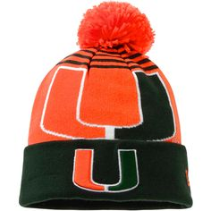 Miami Hurricanes New Era NCAA Logo Whiz Knit Hat - Orange/Green - $18.39
