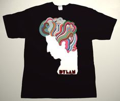 BOB DYLAN '60s promo art DELUXE ART CUSTOM T-SHIRT     Each T-shirt is individually hand-painted, a true and unique work of art indeed!  To order this, or design your own custom T-shirt, please contact us at info@collectorware.com, or visit  http://www.collectorware.com/tees-bob_dylan.htm