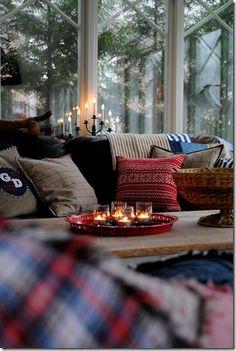 Cozy Christmas living room, Christmas pillows