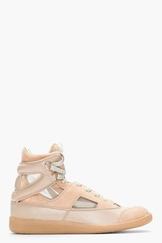 MAISON MARTIN MARGIELA Beige suede and leather Mesh Insert Sneakers