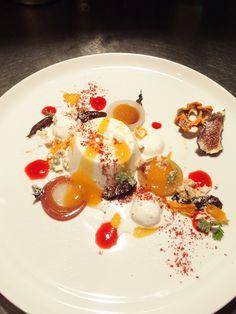 Panna cotta and autumn fruit