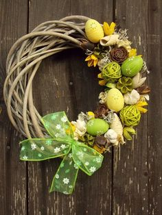 Easter wreath / Seller's goods - Modern Spring Door Wreaths, Easter Wreaths, Holiday Wreaths, Easter Crafts For Kids, Spring Crafts, Happy Easter, Paste, Green Ribbon, Spring Green