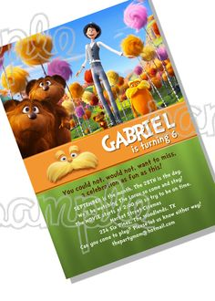 The Lorax birthday party invitation DIGITAL FILE by thepartymom, $10.00